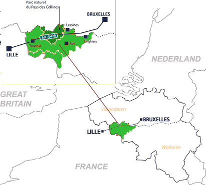 Carte du Parc naturel du Pays des Collines