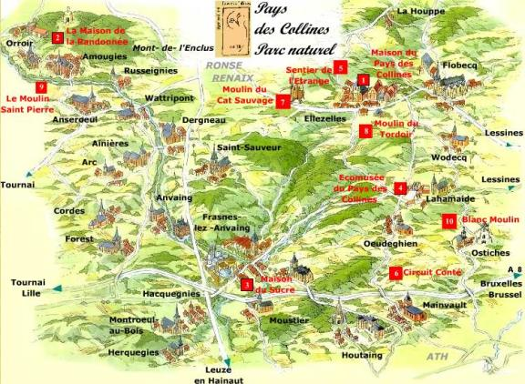 carte du parc naturel du pays des collines